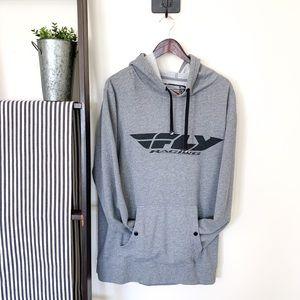 Fly Racing   Men's Hoodie Grey Size Large